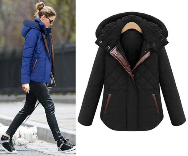 Coat: winter coat, jacket, hooded jacket, blue, black, zip ...