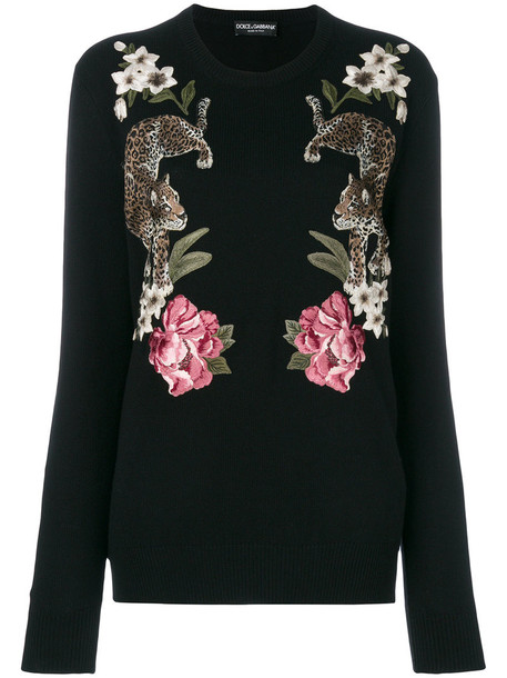 Dolce & Gabbana jumper embroidered women floral black sweater