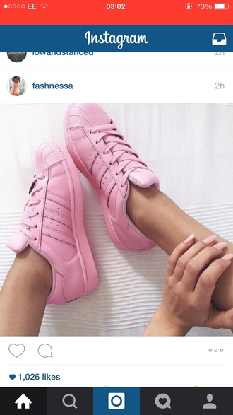 shoes pink baby pink trainers adidas super stars cute pink trainers sneakers