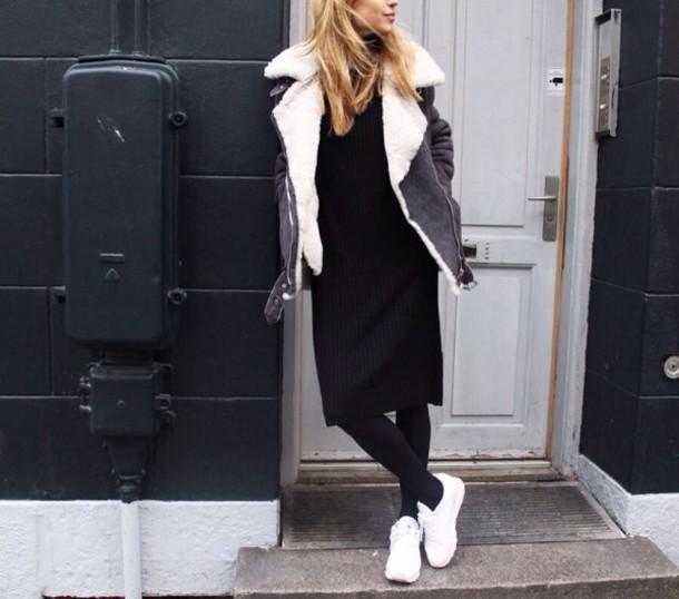 coat fluffy warm fashion model grey black white dope couture cool grunge soft grunge amazing jacket winter coat fur sheep bumper big