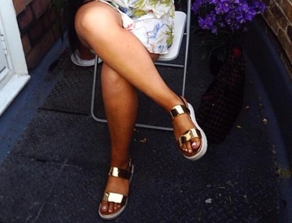 shoes gold strap sandals