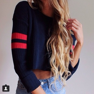 navy red stripes crop tops sweater cardigan cropped sweater top blonde hair shorts stripes wow lovely blouse t-shirt blue sweater cute sweater jeans denim shirt cropped long sleeves long hair hair bleu rouge dark bleu red blue red blue sweater crop romper
