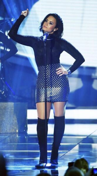 top turtleneck skirt demi lovato boots bodysuit