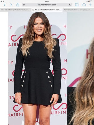 khloe kardashian little black dress flare dress buttons