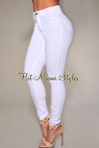 White High Waist Skinny Jeans