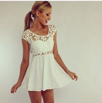 white dress tanned skin cute dress flowers floral dress spring spring floral dress glamour sexy dress summer dress spaghetti strap white lace dress