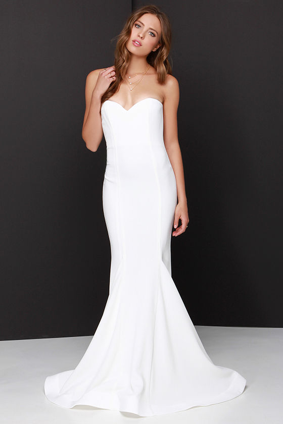 Ivory Strapless Maxi Dress