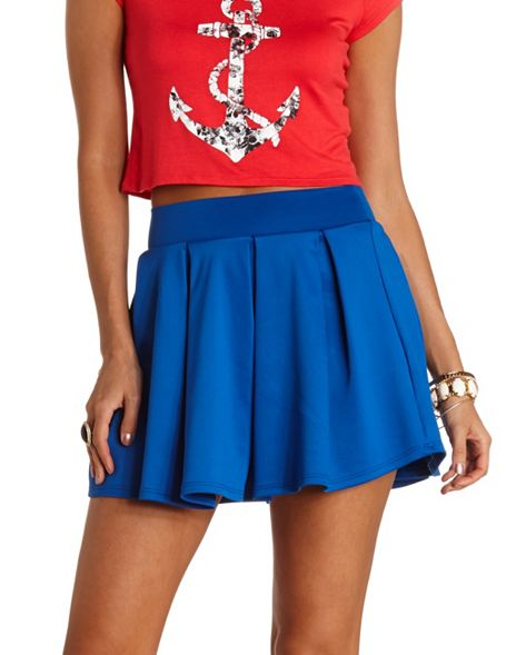 37d7ac6763 High-Waisted Pleated Skater Skirt: Charlotte Russe