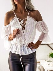 blouse,white,white lace top,white shirt,white lace shirt,white lace blouse,white blouse,party blouse,white casual blouse,slash neck,slash neck top,slash neck blouse,slash neck shirt,lace up,lace up blouse,lace up shirt,strappy,strappy top,sheer,sheer top,sheer blouse,sheer shirt,off the shoulder,off the shouder top,off the shouder blouse,summer blouse,summer top,sexy,sexy top,sexy blouse,party outfits,sexy party top,see through,see through top,chic,casual chic,women casual,office outfits,fashion top,beach,holiday outfits,style,tumblr top,girl,girly,girly wishlist,loose,loose top,loose shirt,cozy,bell sleeves,chiffon,chiffon lace,moraki,fashionista,stylish