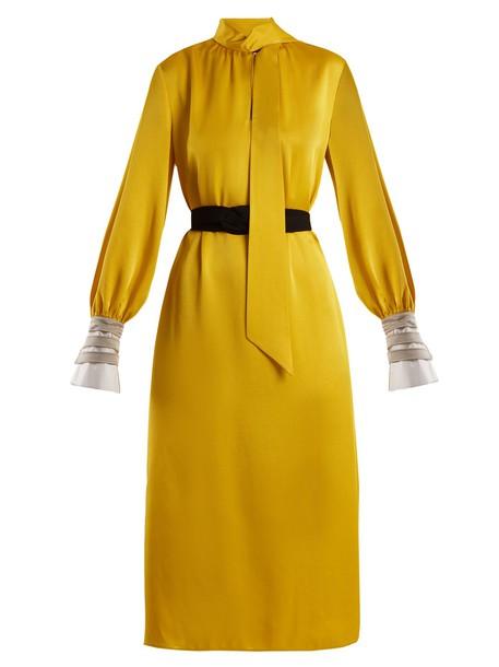Fendi dress midi dress high midi satin yellow