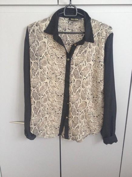 snake print classy blouse wild fancy stylish vintage shirt