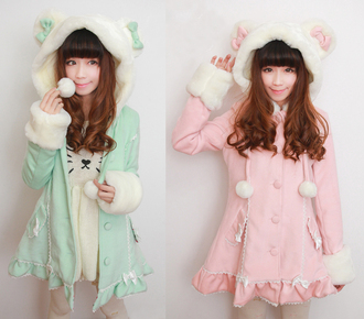 coat kawaii cute adorable tween teen pink mint green japanese llama bunny fluffy soft