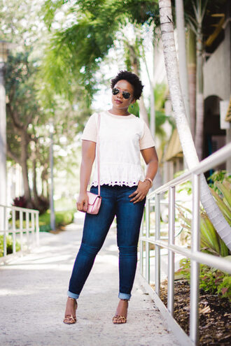 pinksole blogger jewels belt top jeans shoes bag sandals high heel sandals shoulder bag pink bag