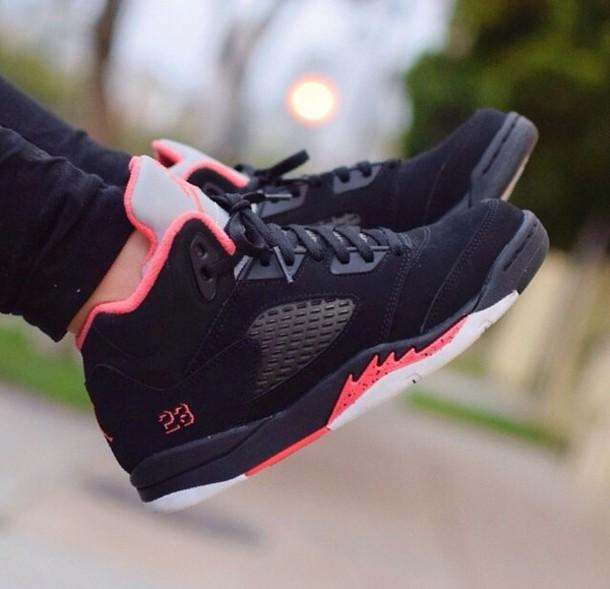 black and coral jordans