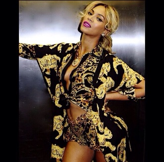 blouse versace shorts top black and gold beyonce luxury