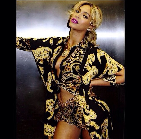 blouse beyonce black and gold luxury versace versace style shorts top