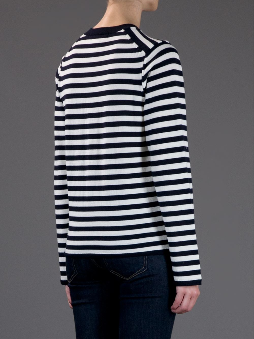 Comme des gar ons shirt striped crew neck sweater solis for Crew neck sweater with collared shirt