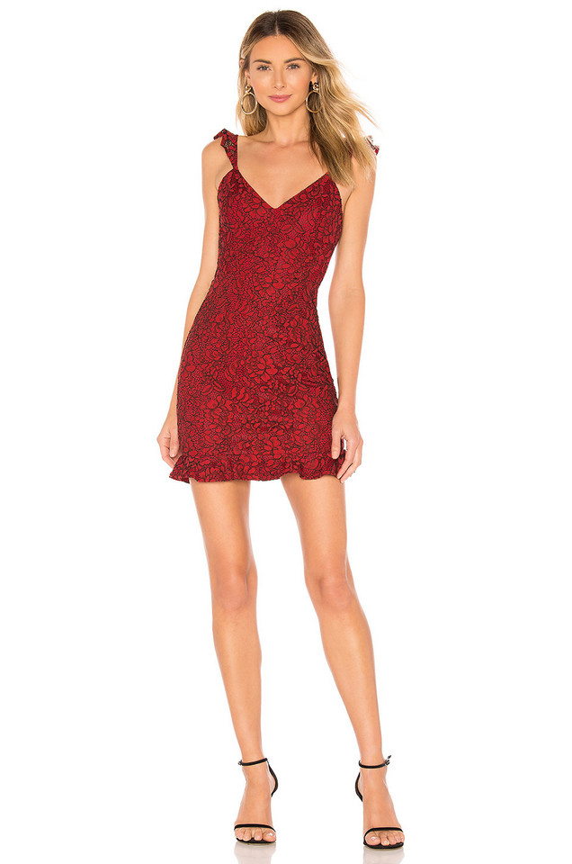 About Us Willoh Lace Ruffle Dress in red