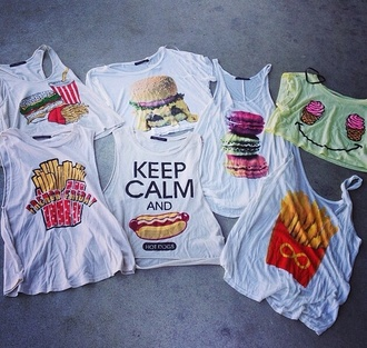 t-shirt shirt white white shirt graphic tee food food tshirt fries hamburger ice cream keep calm summer outfits summer top