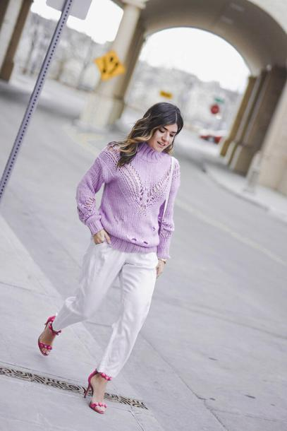 3f74c7f4c9df chictalk blogger top sweater jacket sandals spring outfits white pants lavender  sweater