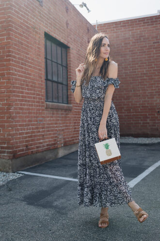 louise roe blogger dress shoes jewels bag maxi dress summer dress summer outfits pineapple print sandals
