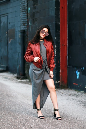 carly maddox blogger dress jacket sunglasses shoes asymmetrical dress grey dress bomber jacket red jacket high heel sandals high heels