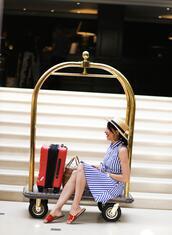 preppy fashionist,blogger,hat,dress,shoes,bag,sandals,striped dress