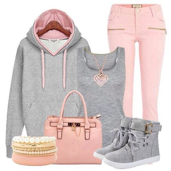 coat shoes pink and grey sweater pants