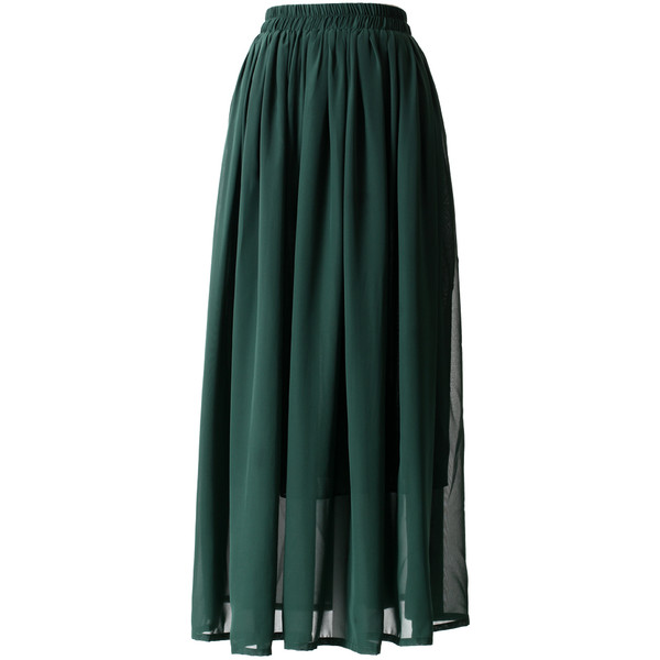 Darkgreen Pleated Maxi Skirt