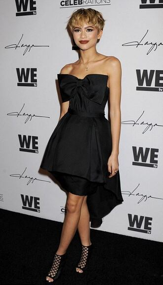 dress bustier bustier dress black dress zendaya sandals prom dress gown necklace jewels