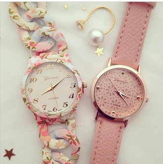 jewels watch geneva pink watch watch with flowers floral watch swag watch