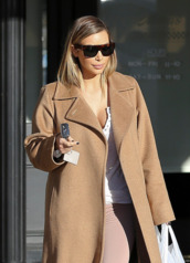 coat,camel coat,sunglasses