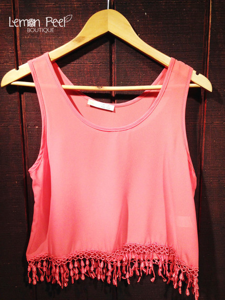 tank top coral crop tops fringes