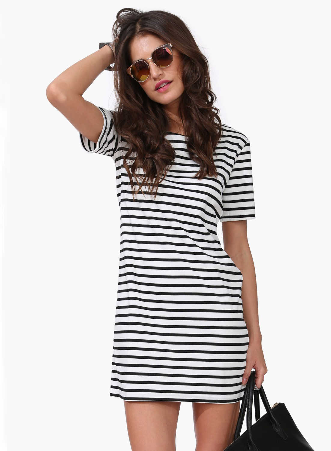 67c4f596288 Black And White Striped Shirt Dress Short - Gomes Weine AG
