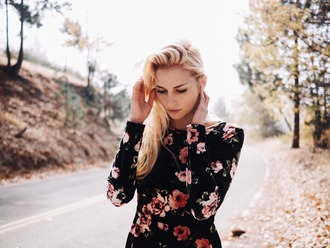 shirt floral black tumblr