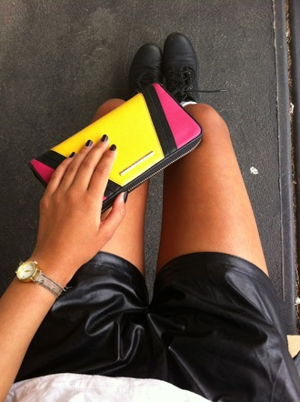 bag clothes yellow pink purse wallet girl leather pants hipster hot top shorts neon bright scarf jewels