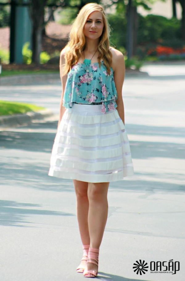 Ruffled Floral Strap Chiffon Top - OASAP.com