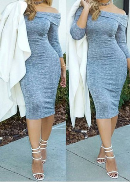 5d06d047bc2c dress grey fashion long sleeves sweater dress off the shoulder fall outfits  white coat rose wholesale