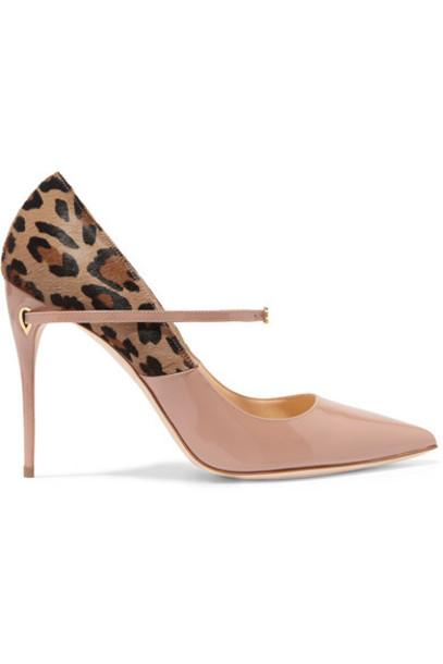 Jennifer Chamandi - Lorenzo Leopard-print Calf Hair And Patent-leather Pumps - Neutral