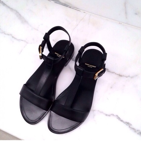 shoes summer shoes black shoes saint laurent black leather minimalist sandals flat sandals black sandals ysl