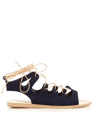 sandals lace suede navy shoes