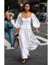 dress,white dress,button up,flat sandals,basket bag,cotton