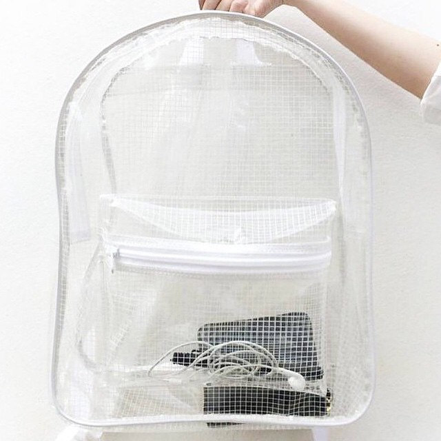 a46694d820 Clear Backpack Transparent Rucksack White Grid Vinyl Travel Fitness ...