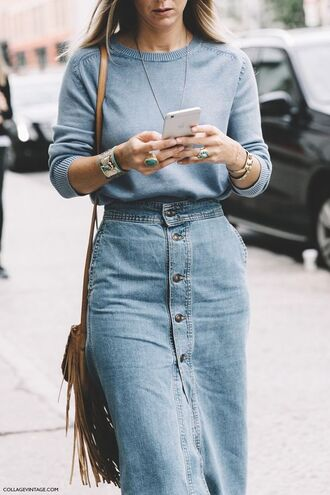 skirt blue sweater jumper gemstone ring midi skirt button up skirt denim skirt fine knit jumper fall outfits boho jewelry office outfits fringed bag outfit idea buttoned skirt