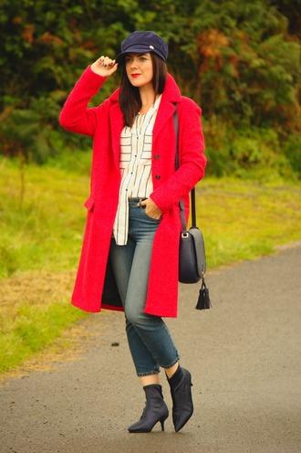rachelthehat blogger coat shoes jeans shirt hat bag red coat shoulder bag ankle boots fall outfits