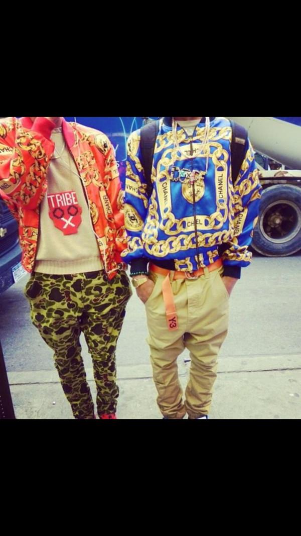jacket dope new york city guys chanel style jacket chanel chain print camouflage duck camo khaki