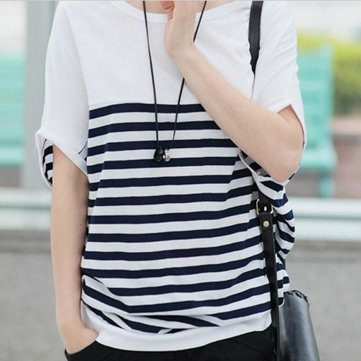 Women Stripe Cotton T shirt Batwing Short Sleeve Hippie Style Loose Tops Tees Casual S XXXL Plus Size Casual 2014 New QY0212-in T-Shirts from Apparel & Accessories on Aliexpress.com