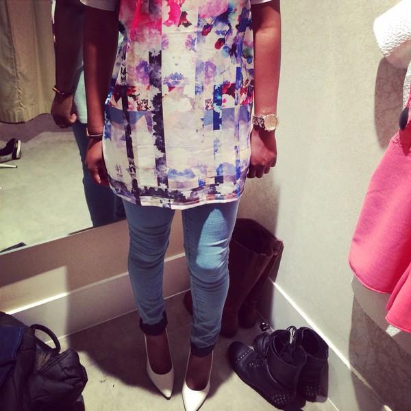 white stilettos jeans