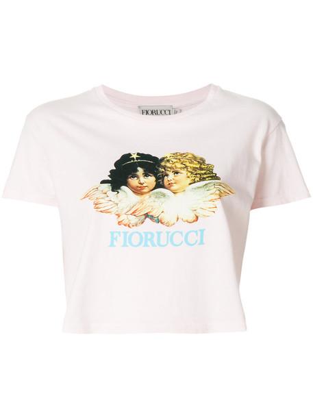 FIORUCCI t-shirt shirt cropped t-shirt t-shirt cropped women cotton print purple pink top