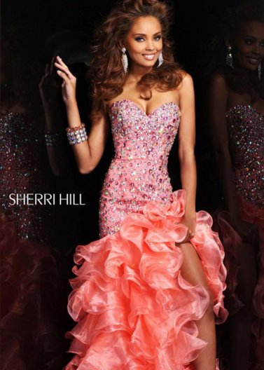 Coral Sherri Hill 21127 Sparkly Beaded Ruffled Hi-lo Dress [Beaded Ruffled Hi-lo Dress] - $238.00 : Hot Sale Prom Dresses & Homecoming Dresses For Cheap